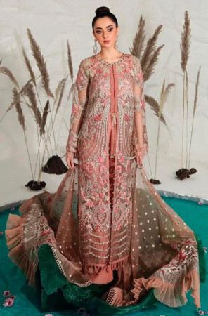 RAMSHA CORAL COLOR HEAVY EMBROIDERY WORK PAKISTANI SALWAR SUIT
