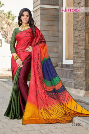 MINTORSI PEACOCK 11601 TO 11608  Silk Crape Jacquerd with lace piping And   Diamond Stone  work SAREE  SET & LOOSE WHOLESALE CATALOG