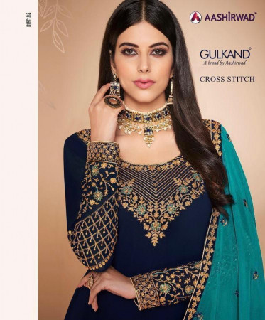 REVISE RATE - AASHIRWAD CROSS STITCH HEAVY WITH EMBERODERY WORK SALWAR SUIT   7054 TO 7059 SET AND LOOSE  WHOLESALE CATALOG