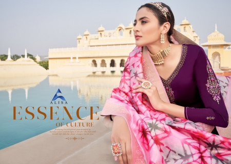 ALISA SUHAN VOL-5 5801 TO 5806 Satin Gorgette With heavy work &Additional diamond work SALWAR SUIT  SET TO SET  WHOLESALE CATALOG