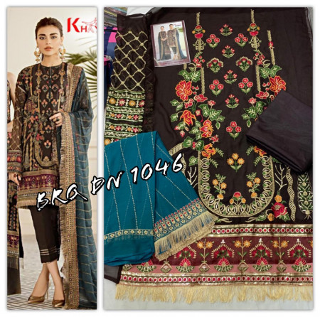 KHAYYIRA 1046 - 1047 GEORGETTE  HEAVY EMBERODERY  WITH LACE SALWAR SUIT  SET AND LOOSE  WHOLESALE CATALOG