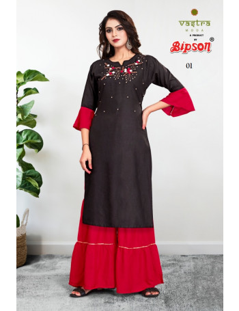 BIPSON VASTRA 01 - 02 Rayon 14kg with handwork and fancy sleeves SALWAR SUIT  SET TO SET  WHOLESALE CATALOG