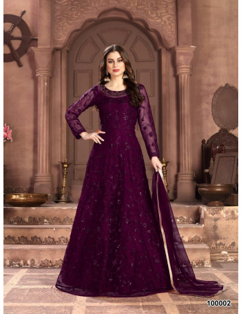 TWISHA AANAYA100000(VOL-100) 100001 TO 100004    net with heavy tone to tone thread & sequence work GOWN  SET AND LOOSE   WHOLESALE  CATALOG