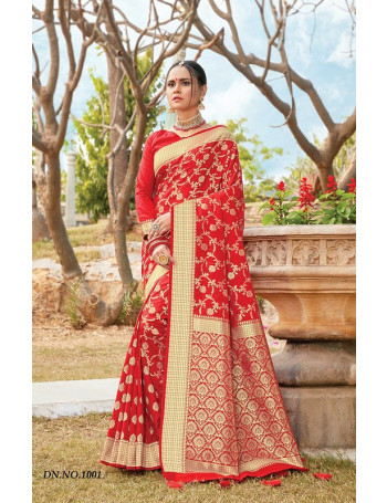 SANGAM RED ROSE 1001 TO 1006 PURE SILK  SET AND LOOSE  WHOLESALE CATALOG