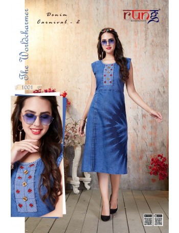 RUNG DENIM CARNIVAL VOL-02 1001 TO 1008 HEAVY DENIM KURTI  SET TO SET   WHOLESALE CATALOG
