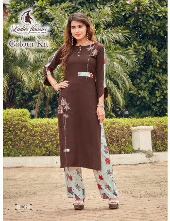 LADIES FLAVOUR COLOUR KIT 1001 TO 1007  Rayon 14 kg With Embroidery work PLAZO  SUIT SET TO SET   WHOLESALE CATALOG