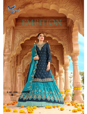 SERIEMA SHAHNAZ 1008 TO 1011 SATIN GRORGETTE WITH HEAVY EMBROIDERY WORK HEAVY EMBROIDERY  SLEEVES  LEHENGA SUIT   SET TO SET  WHOLESALE CATALOG