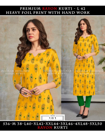 POONAM MINAKARI FOIL 101 TO 108  Pure 14 kg Rayon with foil print.  With Handwork - mirror work  KURTI SET TO SET  WHOLESALE CATALOG