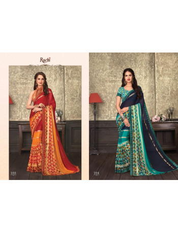 RUCHI -NILGIRI 101TO112    GEORGETTE  FANCY  SAREE   SET TO SET  WGOLESALE  CATALOG
