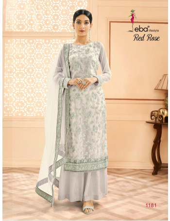 EBA RED ROSE 1181 TO 1184 Hevey Butterfly Net With Hevey Silver Coding Work SALWAR SUIT SET TO SET WHOLESALE CATALOG