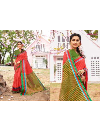 MINTORSI GRACIE 18401 TO 18412   Banarsi Cotton With Weaves Pallu & Blouse And Cotton Tussles  (Latkan )  SAREE SET AND LOOSE   WHOLESALE  CATALOG
