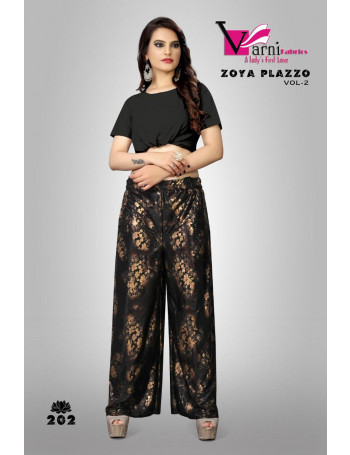 VARNI ZOYA PLAZZO VOL-2 201 TO 204 Imported Lycra with Foil print Plazo SET AND LOOSE WHOLESALE CATALOG