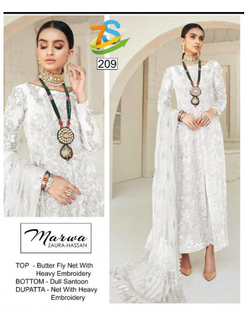 ZAURA-HASSAN MARWA 207 TO 212 BUTTER FLY NET WITH HEAVY EMBROIDERY SALWAR SUIT  SET AND LOOSE WHOLESALE CATALOG