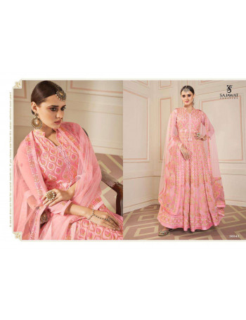 SAJAWAT BEGAM VOL-5 NX 38041 TO 38043 heavy*fox*georgett with*embroidery  STITCH SET AND LOOSE WHOLESALE CATALOG