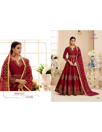 ARIHANT NX AYANA 4001 TO 4004  MALBERRY SILK WITH FUSING  GOWN ORGANGA WITH WORK DUPATTA  SET AND LOOSE AND SINGLE  WHOLESALE  CATALOG