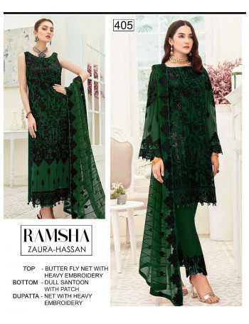 RAMSHA ZAURA-HASSAN 405 TO 408 BUTTER FLY NET WITH HEAVY EMBROIDERY SALWAR SUIT SET TO SET WHOLESALE CATALOG