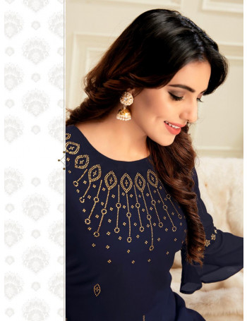 RT SWAROVSKI VOL-4 4216 TO 4220 GEORGETTE EMBERODERY PLAZO AND SUIT  SET TO SET  WHOLESALE CATALOG