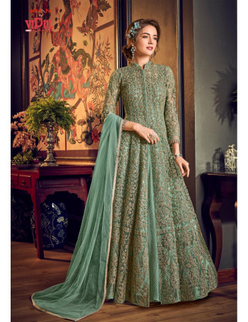 VIPUL JULIA SUPER HIT DESIGNS LONG SATIN EMBERODERY THREAD AND SEQUENCE STYLISH ELEGENT AND SMART GOWN AND CHIFFON DUPATTA  SET AND LOOSE WHOLESALE CATALOG