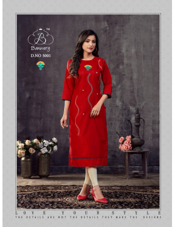 BANWERY BLEND VOL-5 5001 TO 5010 HEAVY PREMIUM COTTON WITH EMBROIDERY WORK KURTI SET TO SET  WHOLESALE CATALOG