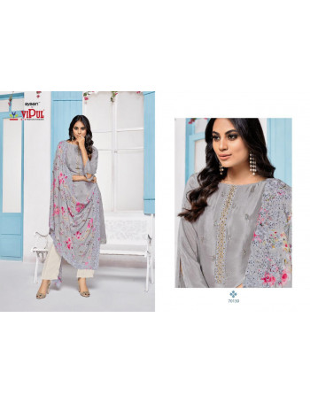 VIPUL BREEZE(CAT-703) 70130 TO 70135 CHINON WITH EMBERODERY CREAP SALWAR SUIT  SET AND LOOSE  WHOLESALE CATALOG