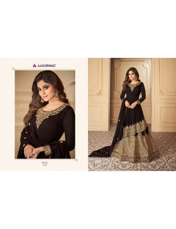 AASHIRWAD TAHIRA 7142 TO 7145  BUTTER FLY NET , REAL GEORGETTE EMBERODERY GOWN SET AND LOOSE  WHOLESALE CATALOG
