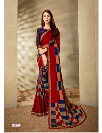 RIGHT WOMEN MORNI 9121 TO 9132 GEORGETTE PRINTED SAREE WITH JARI LACE CONCEPT SET TO SET WHOLESALE CATALOG