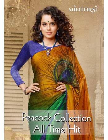MINTORSI PEACOCK Silk Crape Jacquerd with lace piping And Diamond Stone  work SAREE SET & LOOSE  WHOLESALE CATALOG