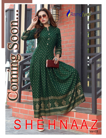 RANGJYOT SHEHNAAZ VOL-3 301 TO 310  14 Kg rayon With Goldprint KURTI  SET TO SET  WHOLESALE CATALOG