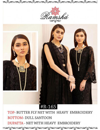 RAMSHA SUITS 165-167 SERIES HEAVY LOOK WITH BEAUTIFUL EMBROIDERY WORK PAKISTANI SALWAR KAMEEZ AT WHOLESALE RATEautifull Embroidered