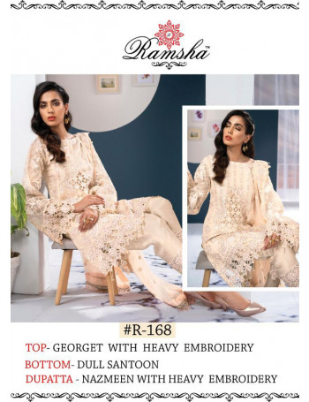 RAMSHA PRESENTS HEAVY EMBROIDERY WORK GEORGETTE & BUTTERFLY NET PAKISTANI SALWAR SUIT AT WHOLESALE RATE