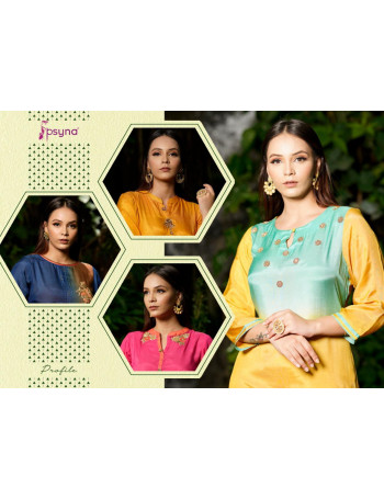PSYNA PROFILE 1001 TO 1007 VISCOS SILK HANDWORK EMBERODERY  KURTI SET TO SET  WHOLESALE CATALOG