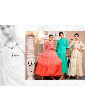PSYNA PRECIOUS VOL-2 2001 TO 2008 Bright colours Shading Is   3 layers of flair makes u feel Stylish  Gown fab - Cotton  SET TO SET   WHOLESALE CATALOG