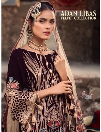 SHREE FABS ADAN LIBAS VELVET COLLECTION  PURE 9000 VELVAT WITH HEAVY   EMBRODERY  SALWAR SUIT   1461 TO 1466 SET TO SET
