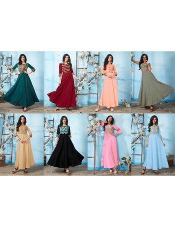 STF RIWAAZ 01 TO 08  Rayon Dyed  Embroidered All Season Floor Length Gowns with Embroidered Sleeves  SET TO SET  WHOLESALE  CATALOG