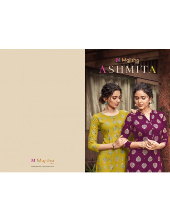 MAJISHA NX ASHMITA 1001 TO 1010 RAYON SLUB PRINT WITH FOIL PRINT KURTI  SET TO SET  WHOLESALE CATALOG