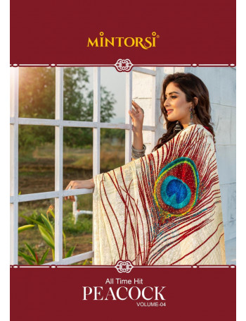 MINTORSI PEACOCK VOL-4 200301 TO 200308 Silk Jacquerd with Lace Piping And stone diamond work SAREE SET AND LOOSE  WHOLESAL,E CATALOG