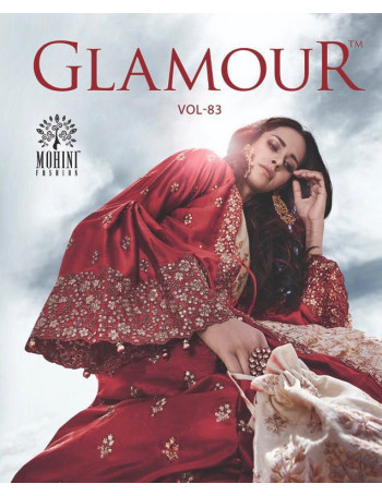 MOHINI GLAMOUR VOL-83 83001 TO 83005 SATIN WITH FANVY EMBERODERY SALWAR SUIT  SET TO SET  WHOLESALE CATALOG