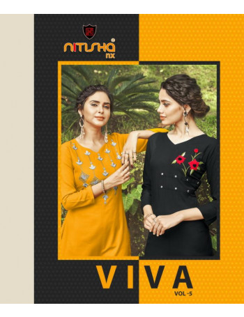 NITISHA NX VIVA VOL-5 5001 TO 5011 Heavy soft  cotton  Slub with   Embroidery work  KURTI SET TO SET WHOLESALE CATALOG