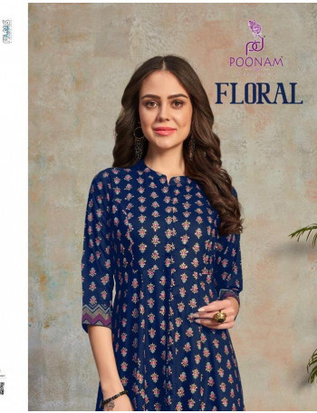 POONAM FLORAL 1001 TO 1002 Malai crepe  with heavy foil & colour print. KURTI SET TO SET  WHOLESALE CATALOG