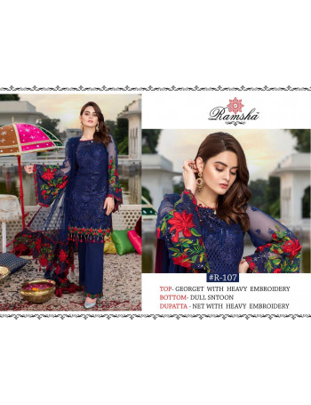 RAMSHA 107 COLOURS BY RAMSHA 107-A TO 107-D SERIES PAKISTANI STYLISH HEAVY EMBROIDERY WORK SALWAR SUIT AT WHOLESALE RATE