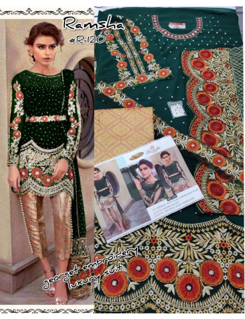 RAMSHA 120-A TO 120-D SERIES DESIGNER PAKISTANI SUITS GEORGETTE EMBROIDERY DRESSES AT WHOLESALE PRICE