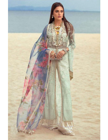 PASTEL GREEN COLOR BUTTERFLY NET LAWN DIGITAL EMBROIDERY WORK PAKISTANI SUIT WITH NET DUPATTA