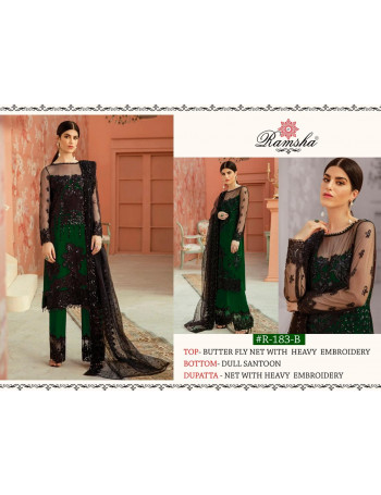 RAMSHA 183 COLOURS R-183A TO R-183E    BUTTERFLY NET EMBROIDERY  SALWAR KAMEEZ SET AND LOOSE   WHOLESALE  CATALOG