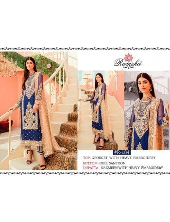RAMSHA R-184 TO R-187   BUTTERFLY NET/GEORGET  HEAVY  EMBROIDERY  PAKISTANI COLLECTION SALWAR SUIT SET AND LOOSE   WHOLESALE  CATALOG