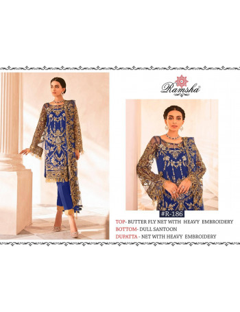 RAMSHA R-185 TO R-187   BUTTERFLY NET/GEORGET EMBROIDERY  SALWAR SUIT  SET AND LOOSE   WHOLESALE  CATALOG