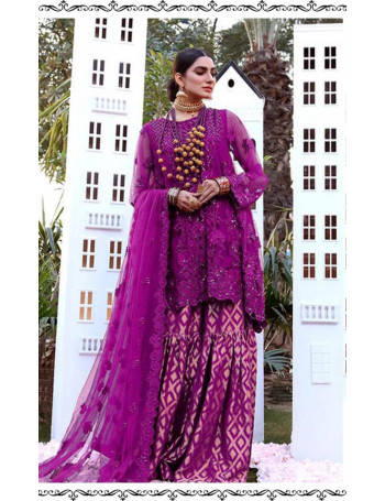 MAGENTA COLOR BUTTERFLY NET HEAVY EMBROIDERY WORK PAKISTANI SUIT