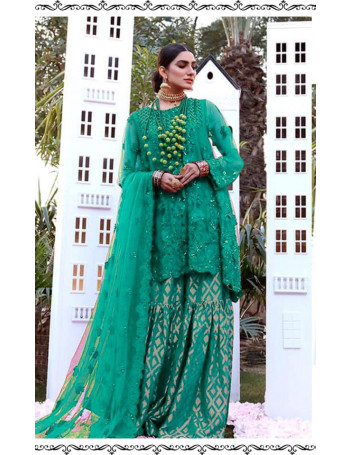 GREEN COLOR BUTTERFLY NET HEAVY EMBROIDERY WORK PAKISTANI SUIT