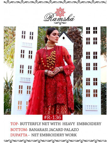 BEAUTIFUL RED COLOR BUTTERFLY NET HEAVY EMBROIDERY WORK PAKISTANI SUIT