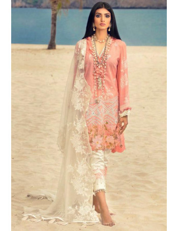 CORAL COLOR BUTTERFLY NET LAWN DIGITAL EMBROIDERY WORK PAKISTANI SUIT WITH NET DUPATTA