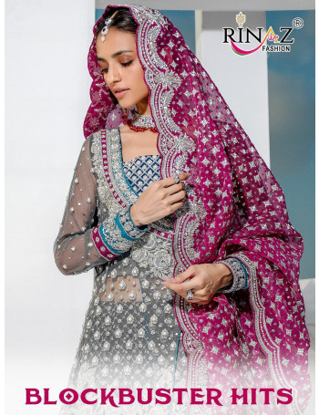 RINAZ BLOCKBUSTER HITS 1096 TO 1100 FOX GEORGETTE HEAVY EMBERODERY AND DIAMOND WORK  SALWAR SUIT SET TO SET  WHOLESALE CATALOG
